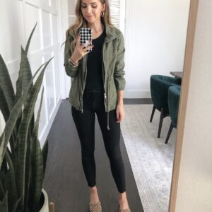 leopard flats with black jeans, black bodysuit, and olive jacket