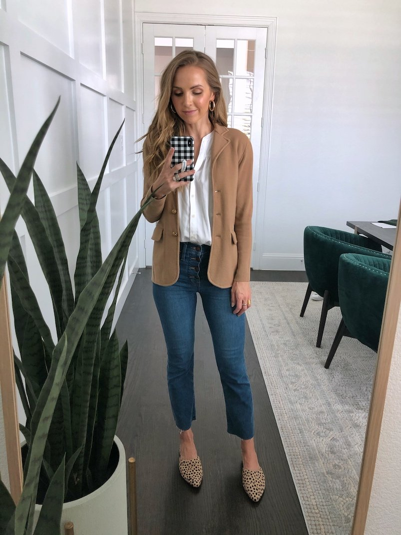 sweater blazer and leopard flats with cropped flare jeans