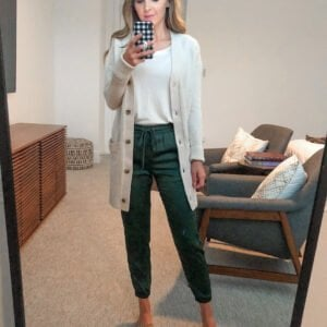 silk joggers and cardigan sweater