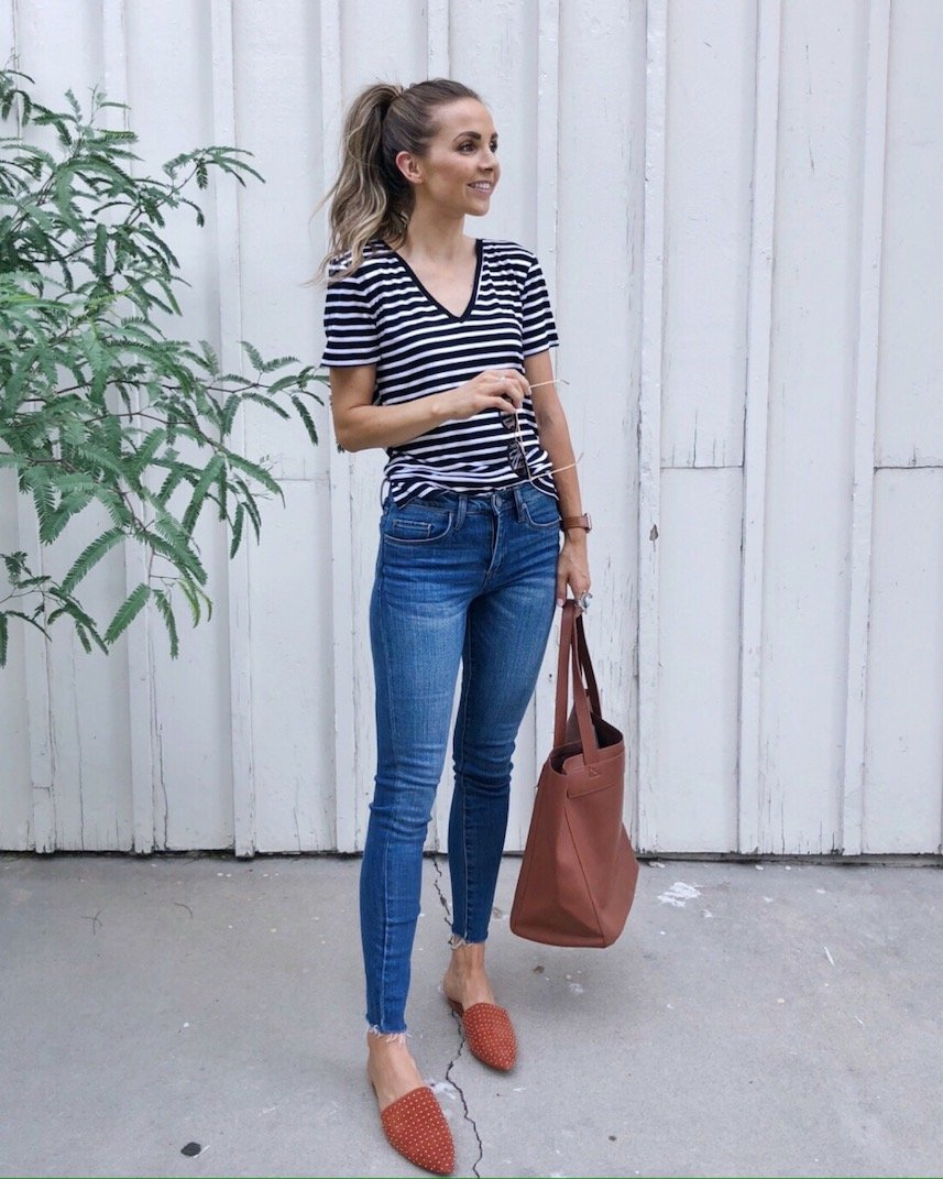 striped v-neck with madewell jeans and studded mules