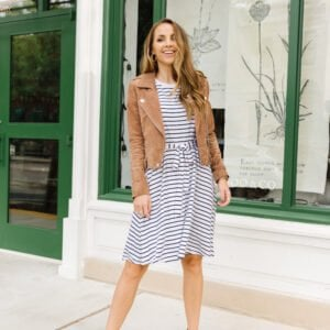 striped merrick white collection dress with tan suede jacket