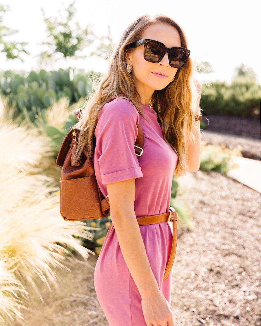 Pink dress from target with freshly picked backpack