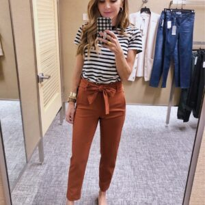 Rust Tie front pants with striped tee