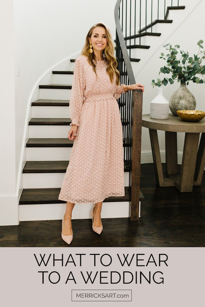blush lulus dress with polka dots curved staircase