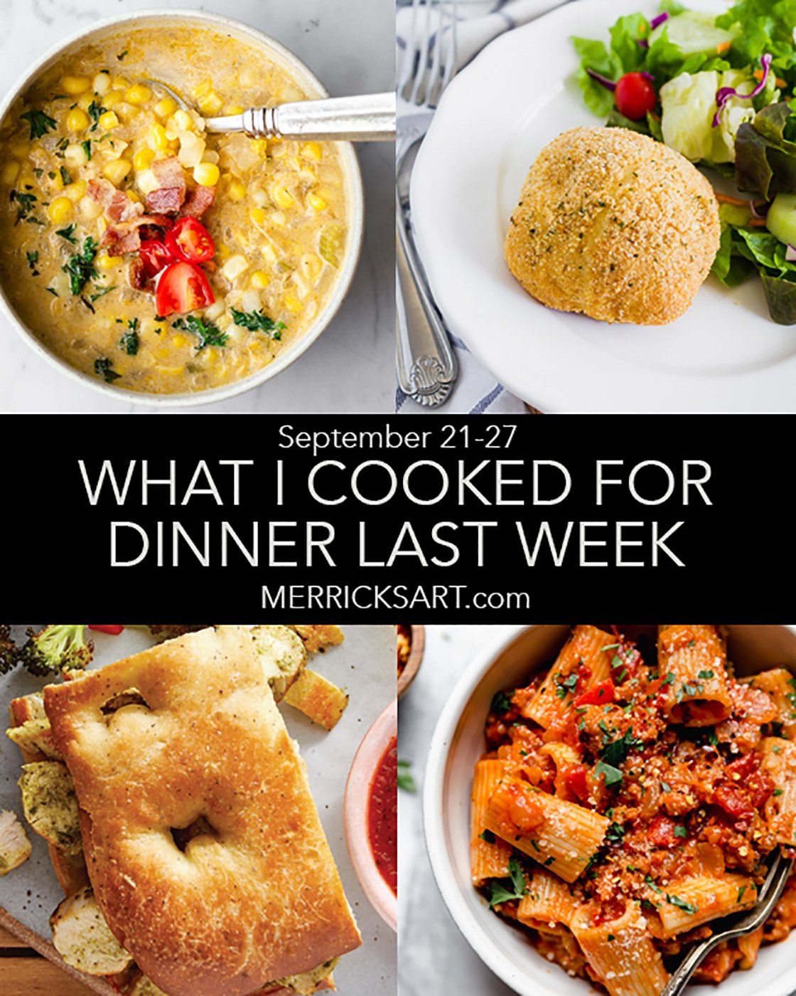 collage of weekly menu