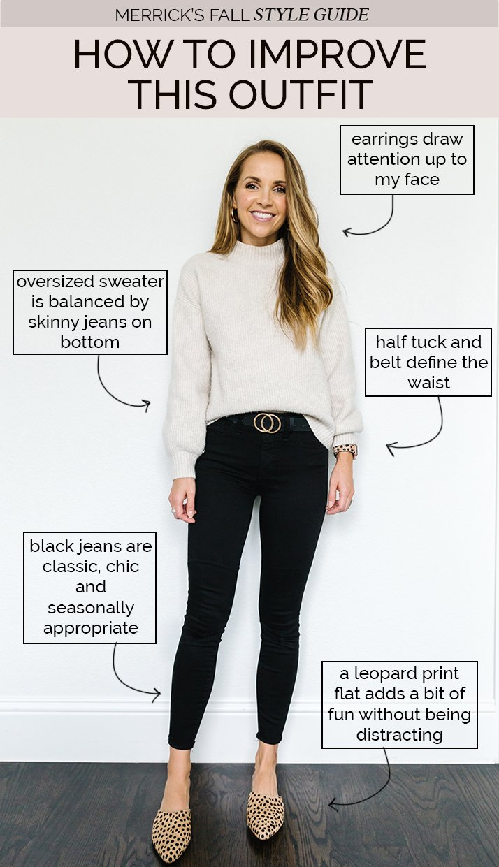 cute fall sweater outfit - cream sweater with black jeans and leopard flats
