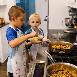 boys cooking in the kitchen cooking with kids