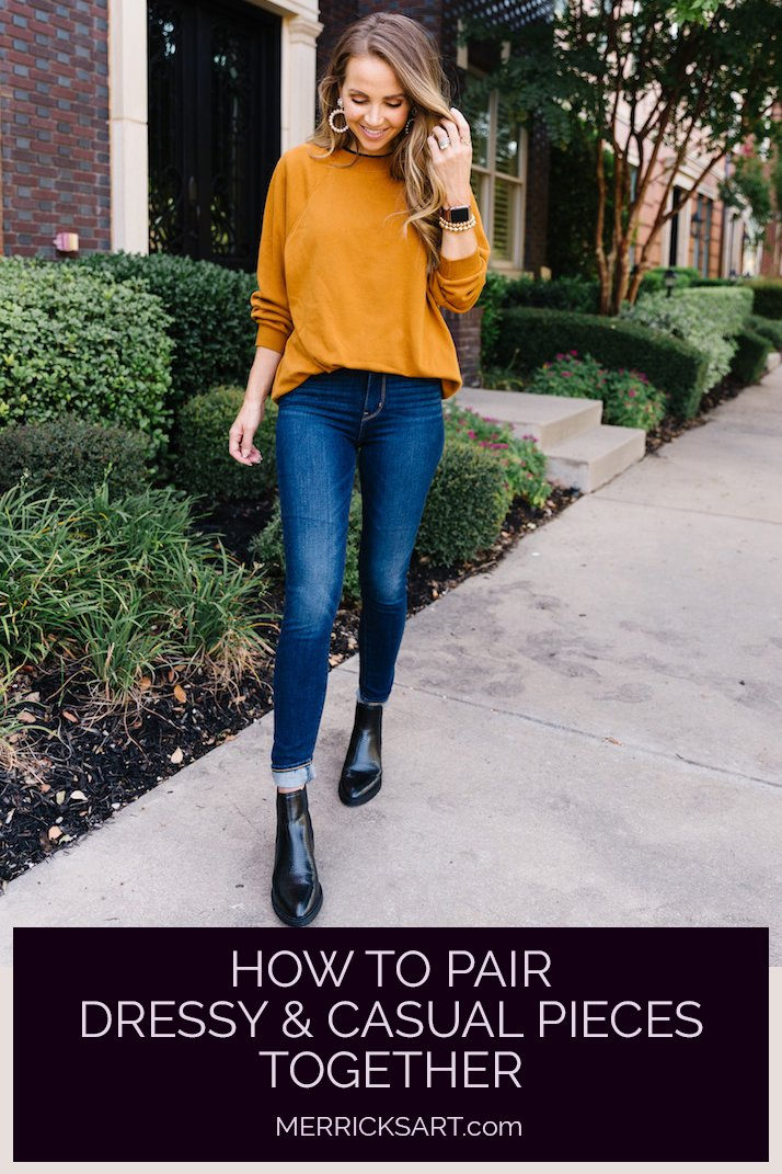 brown sweatshirt with dark jeans and black boots