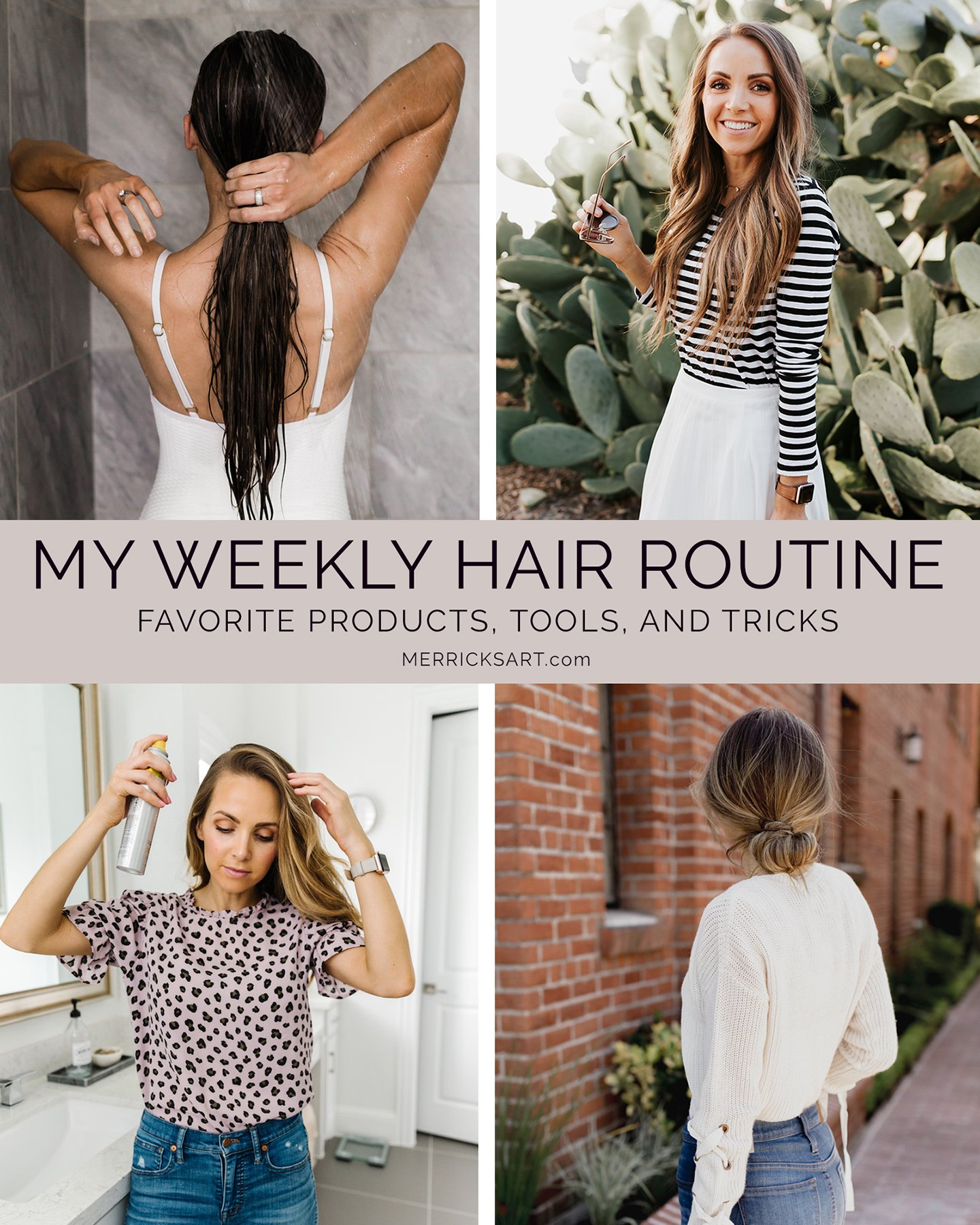 hair routine collage