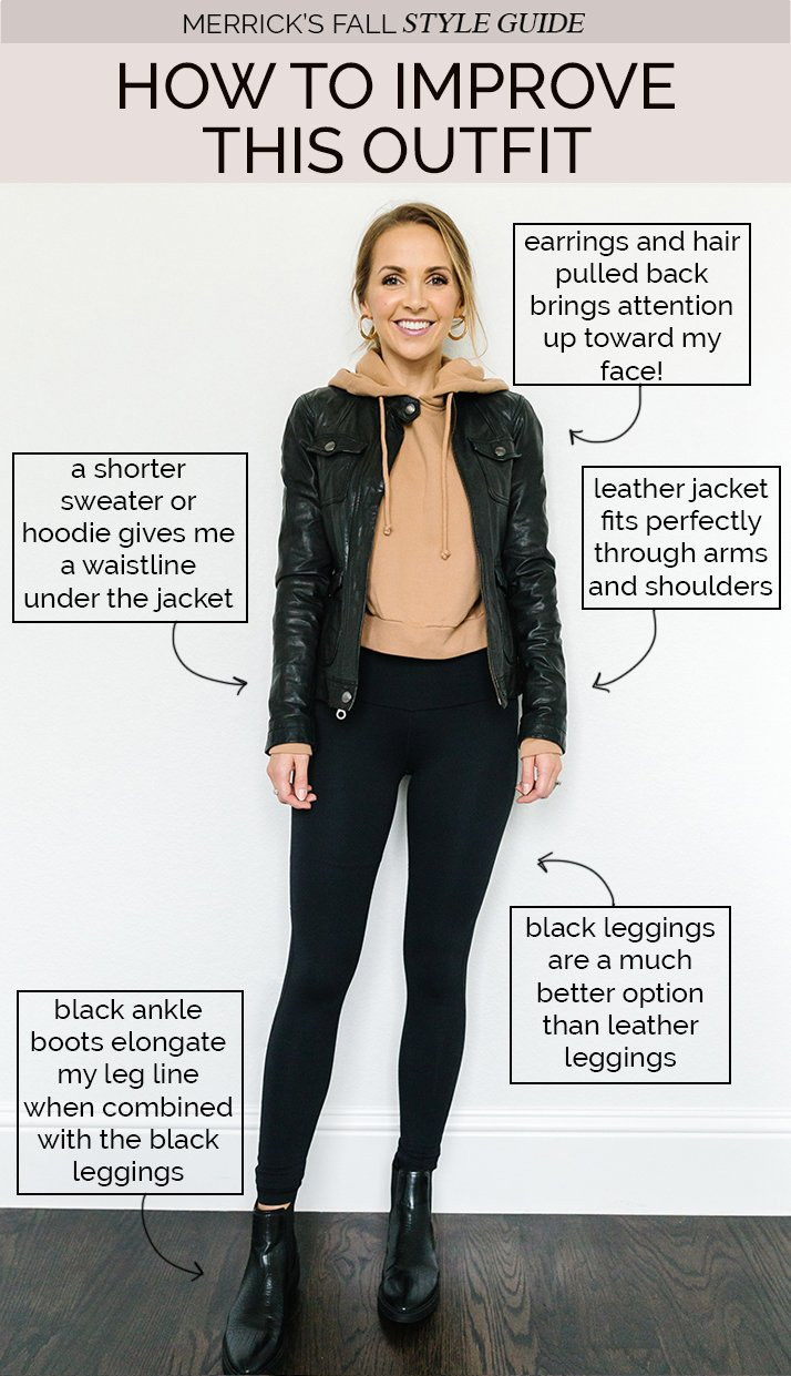 fall jackets outfits - leather jacket with black leggings and cropped hoodie