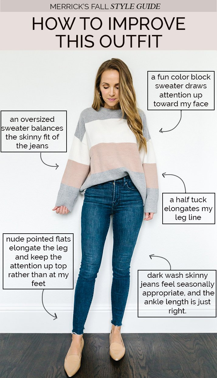 styling jeans for fall - dark wash jeans and color block sweater