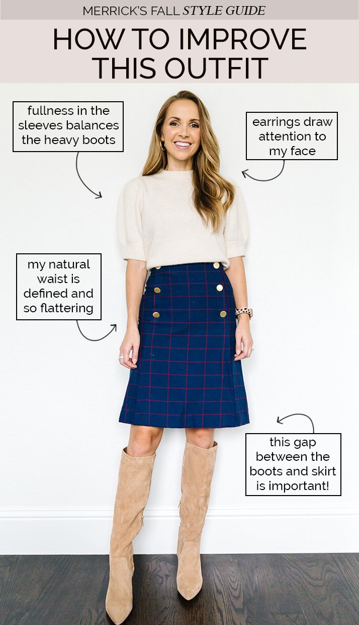 how to wear tall boots for fall - outfits with boots and blue skirt