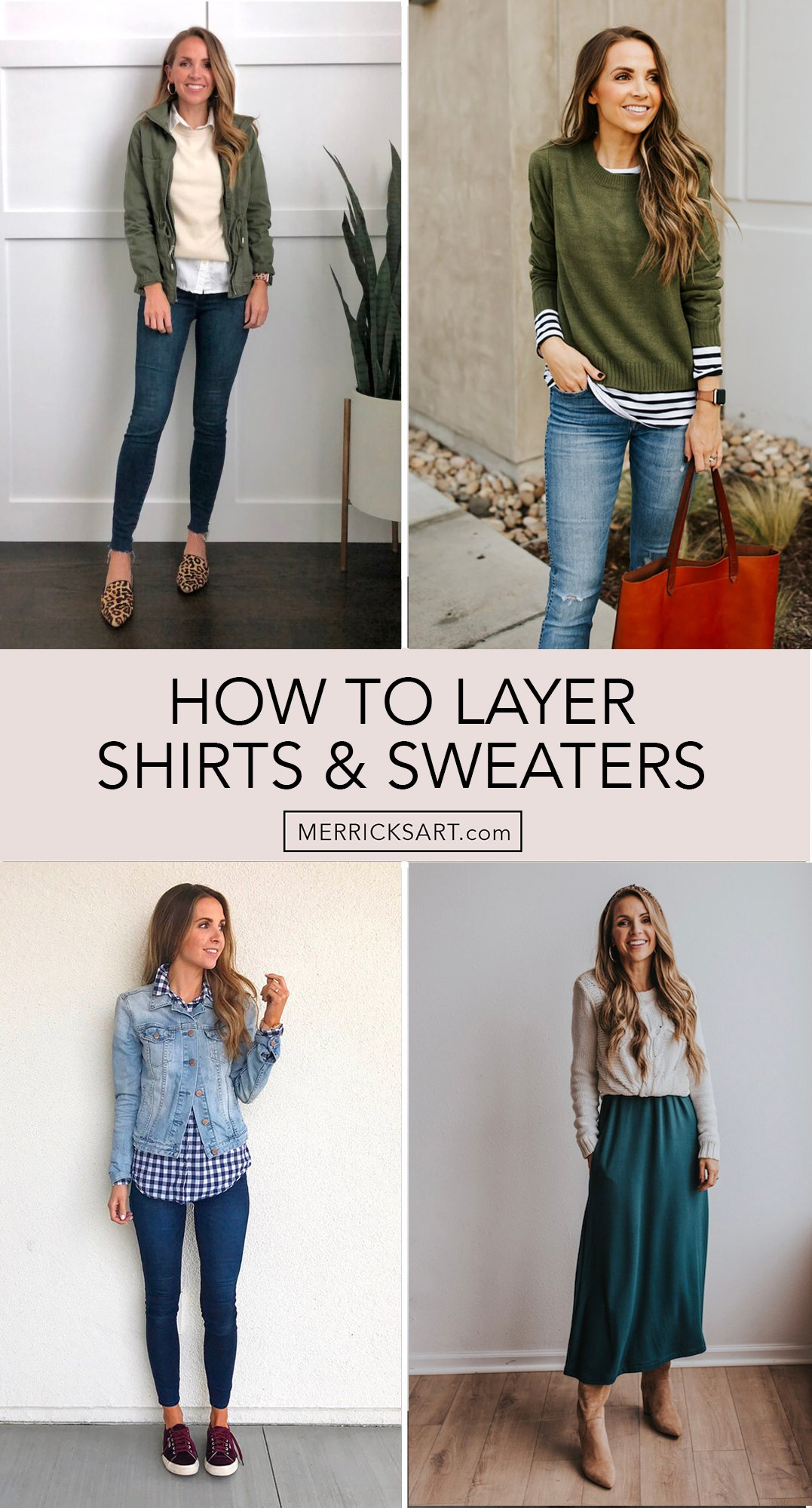 layering shirts and sweaters collage