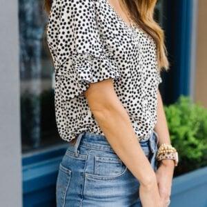 polka dot top with ruffle sleeve