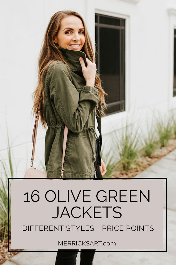 olive green jacket with black jeans
