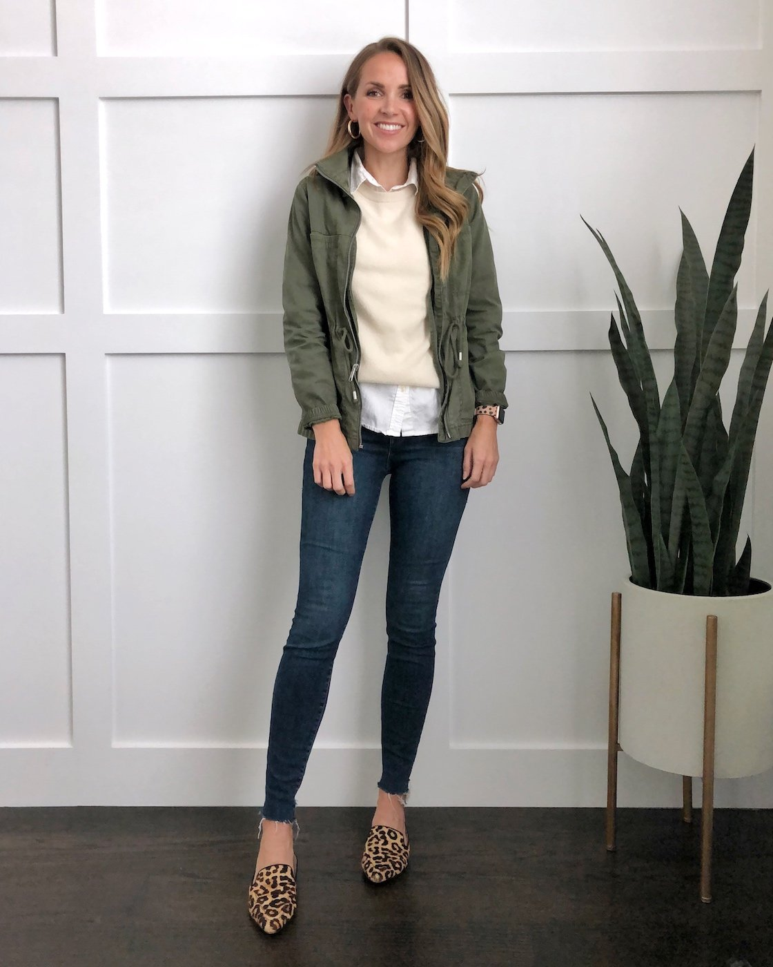 Layering shirts: Layer your olive jacket with a sweater and loafers