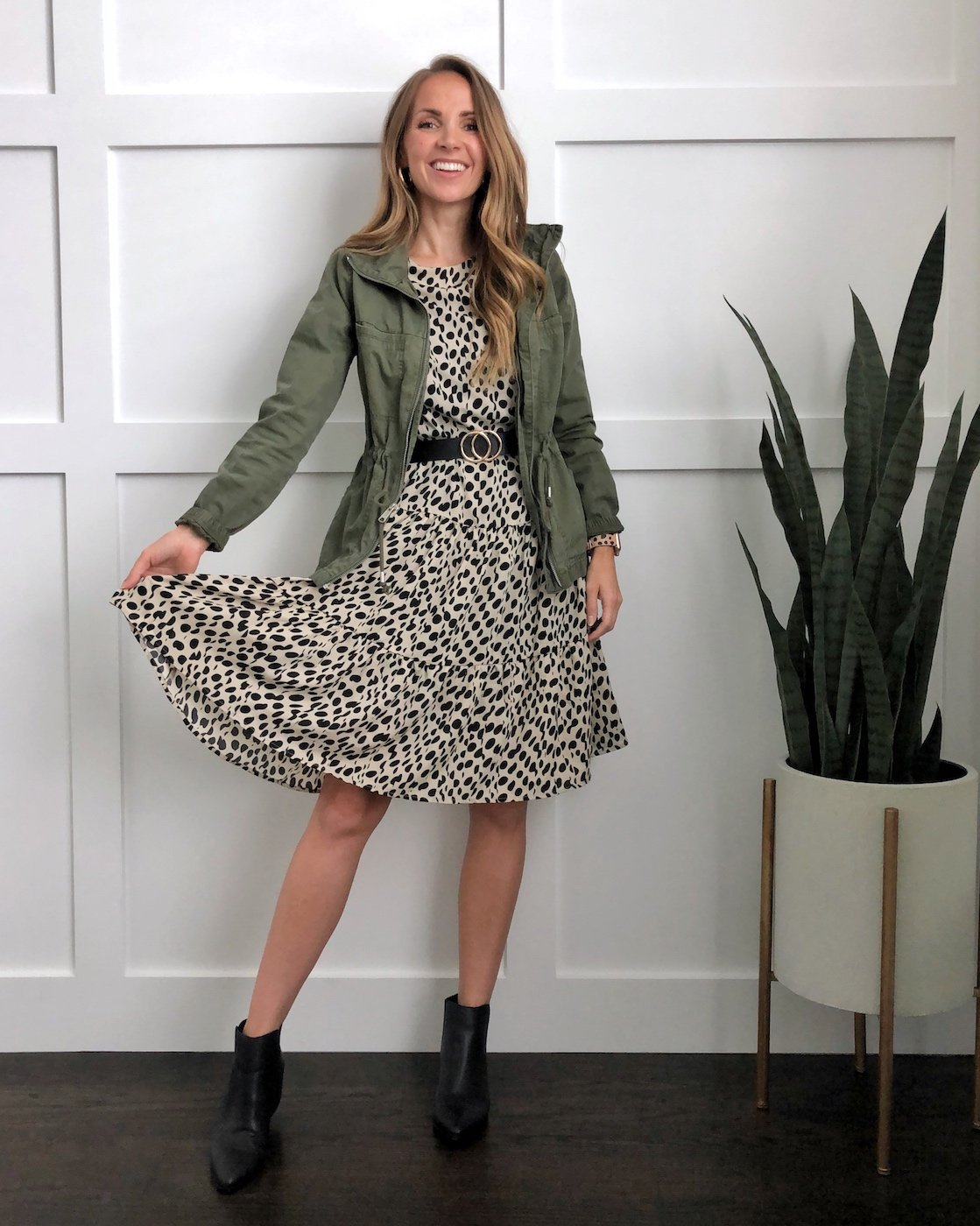 olive jacket with leopard dress