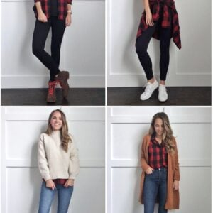 what to wear with and red and black paid shirt collage