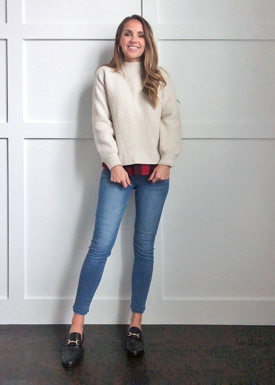 plaid shirt outfits: sweater over buffalo plaid shirt