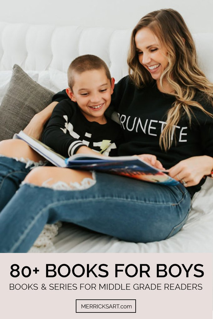 Books for boys - mom and son reading on the bed