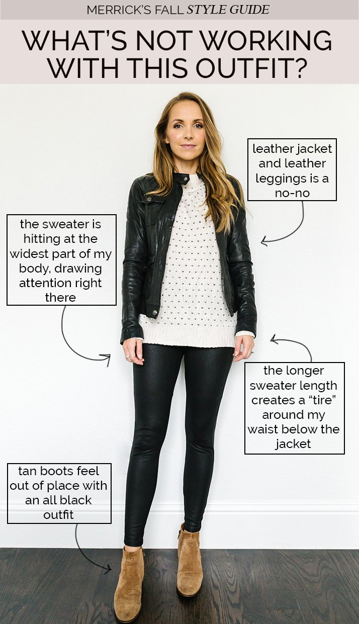 fall jackets outfits - fair isle sweater with leather leggings and black leather jacket