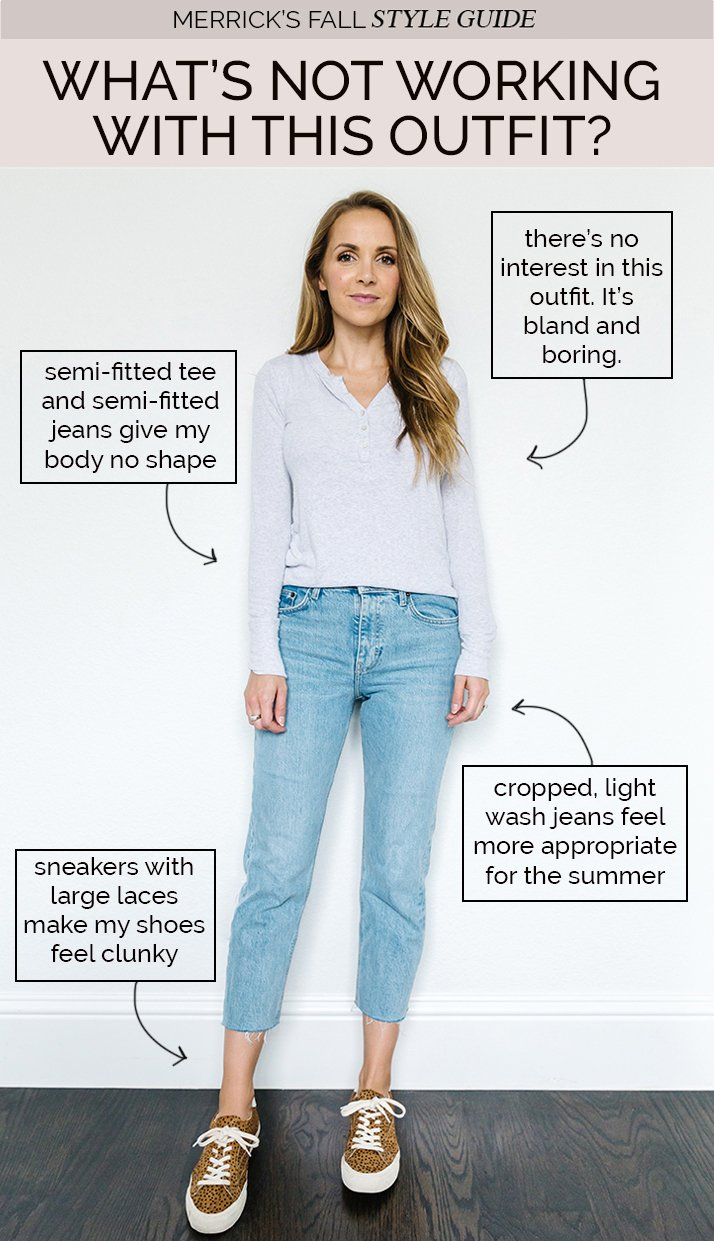 styling jeans for fall - gray henley and light wash jeans