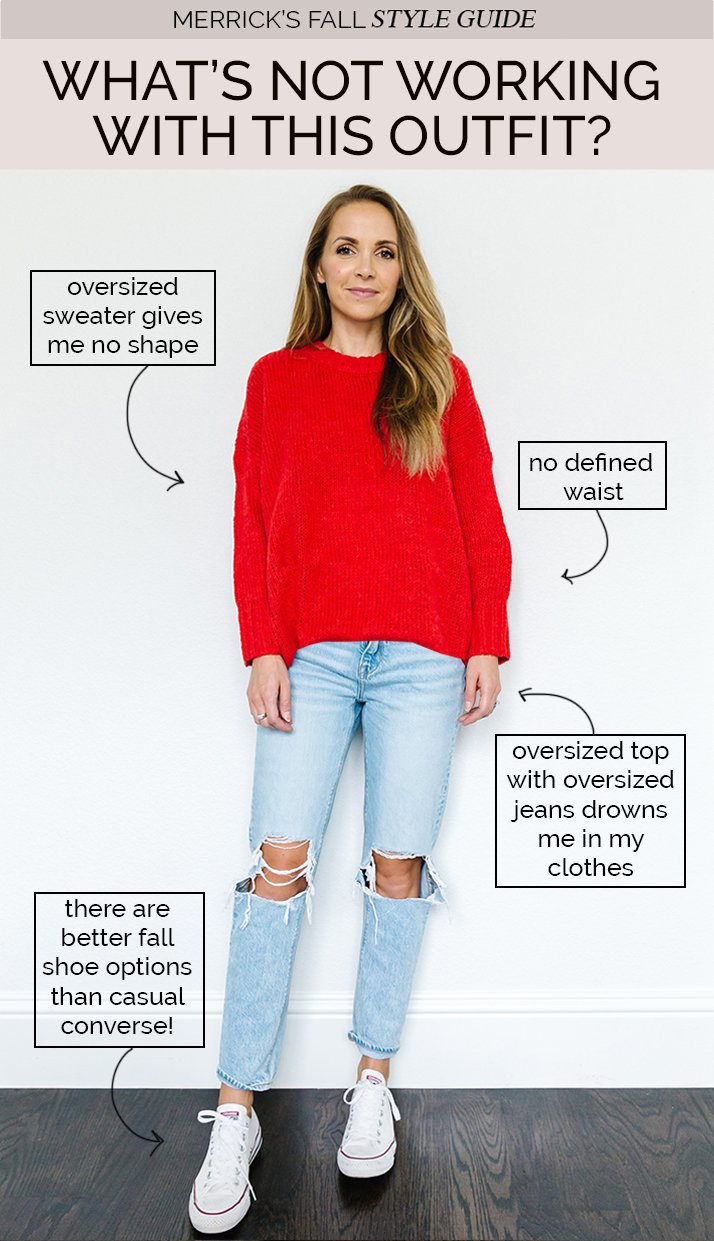cute fall sweater outfit - red dress with boyfriend jeans