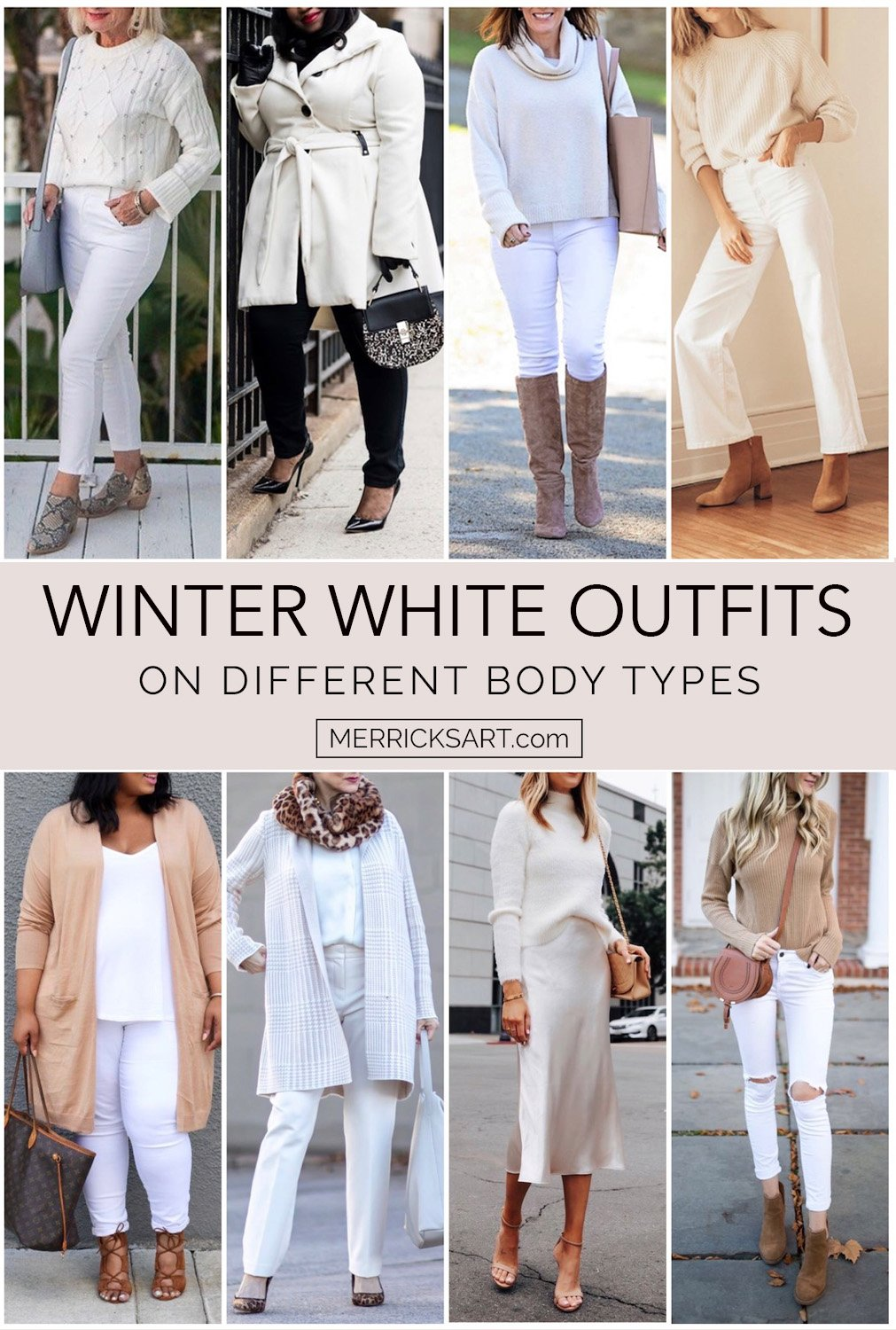 winter whites outfits on different ages and body types