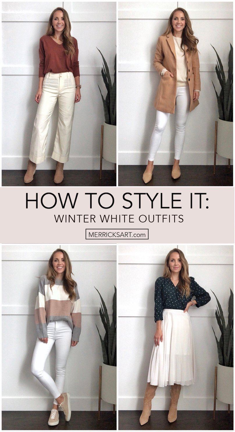 winter white outfits - collage of winter outfits with white pants