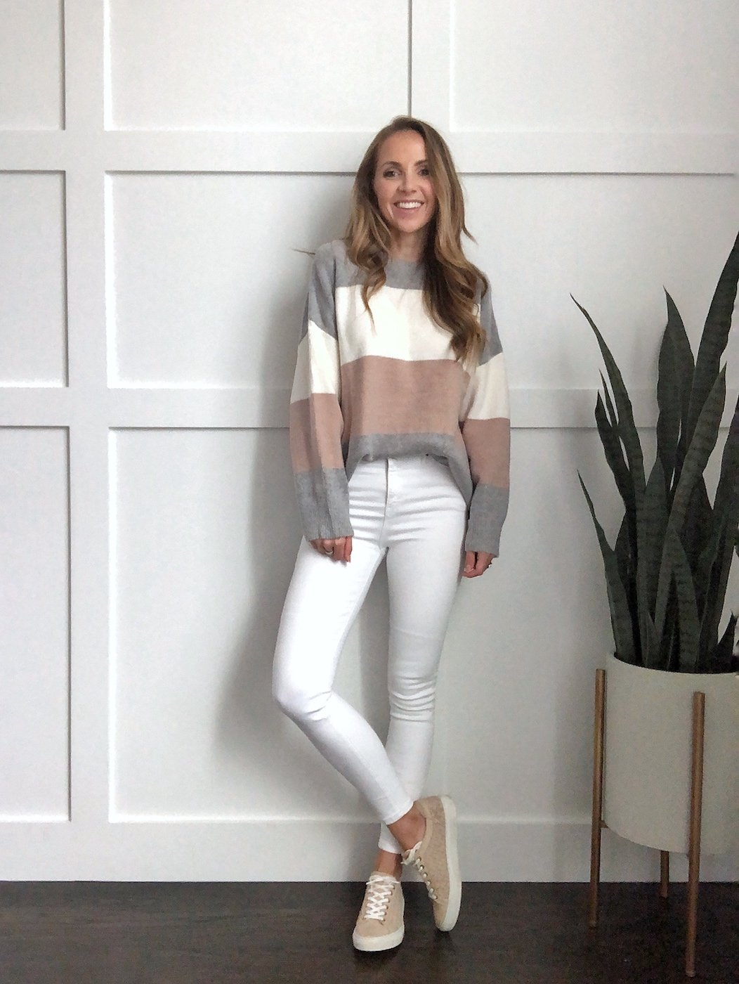 winter whites outfits - white jeans with color block sweater