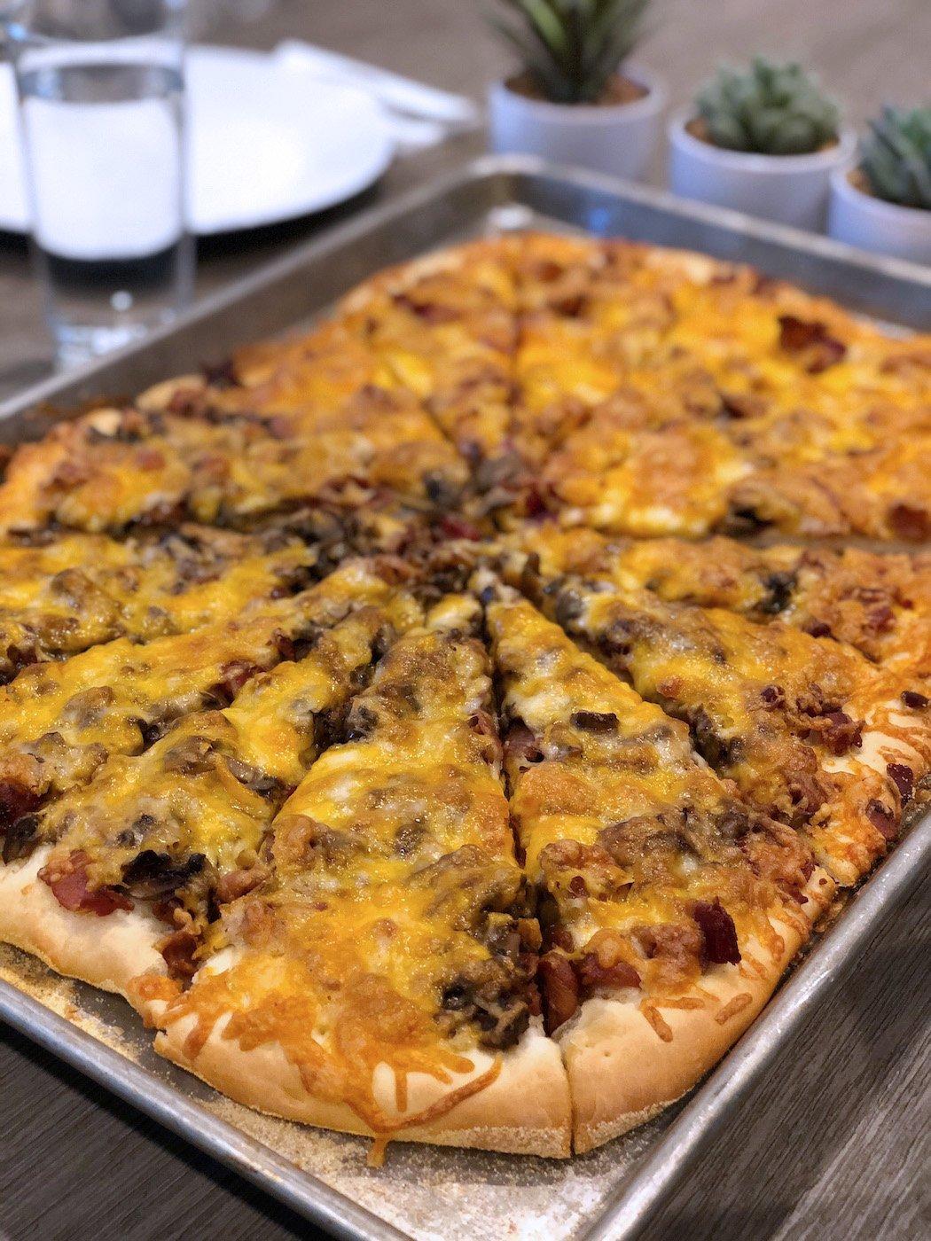 homemade bacon mushroom pizza