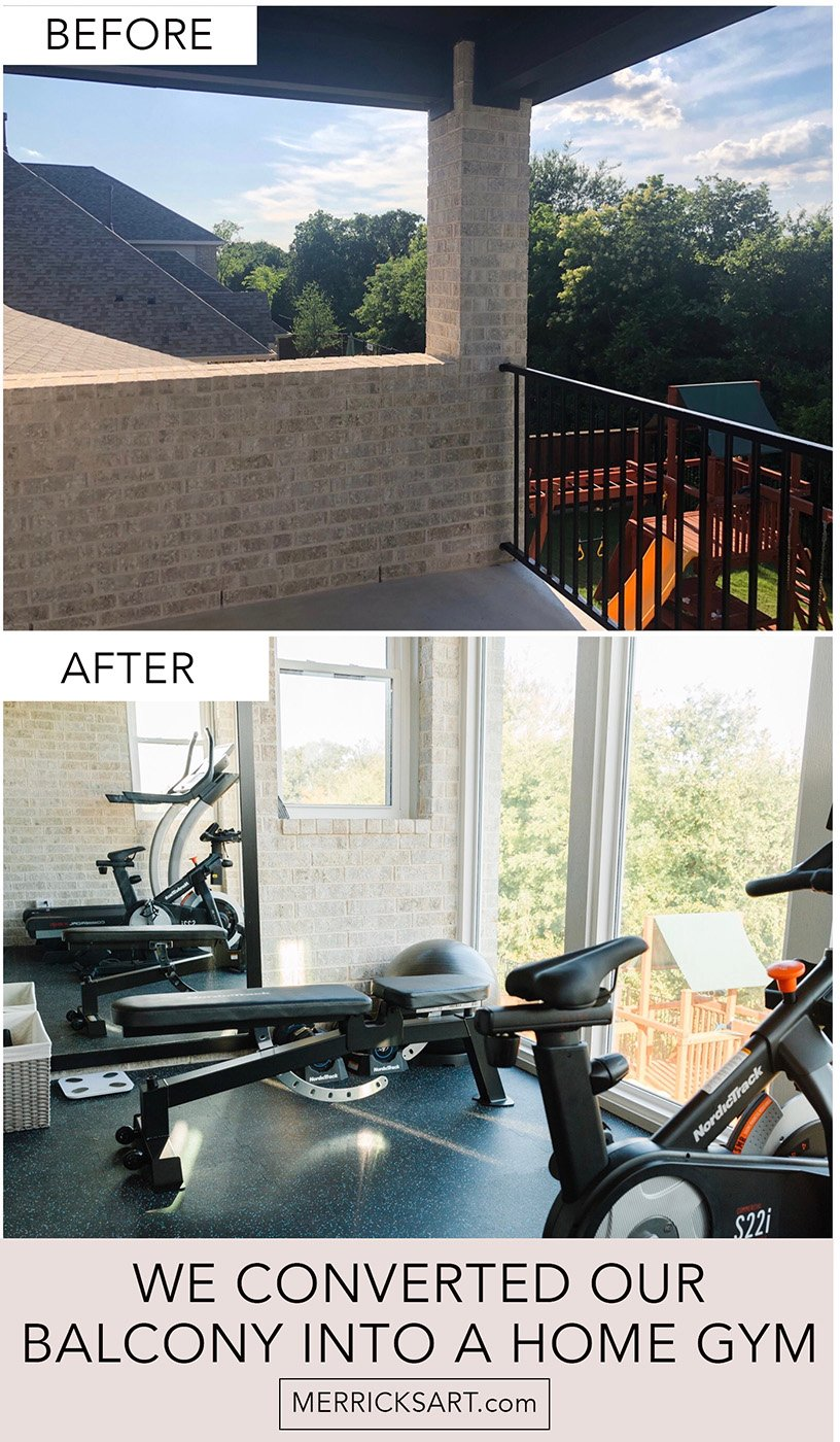 before and after photos of our home gym