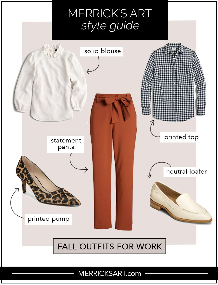 collage of outfits for work with copper pants