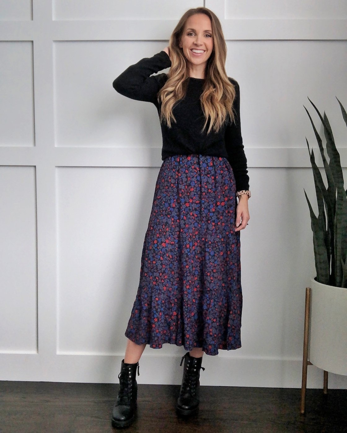 How to wear a midi dress combat boots and sweater