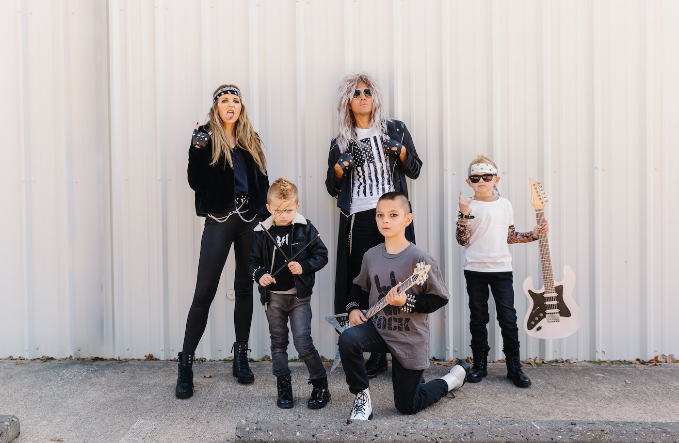 family Halloween rockstar costumes