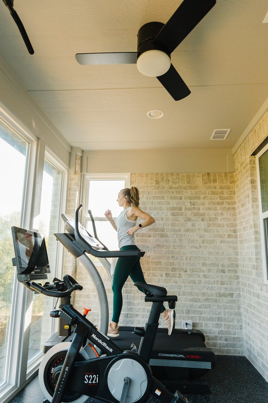 home gym with nordictrack treadmill and bike