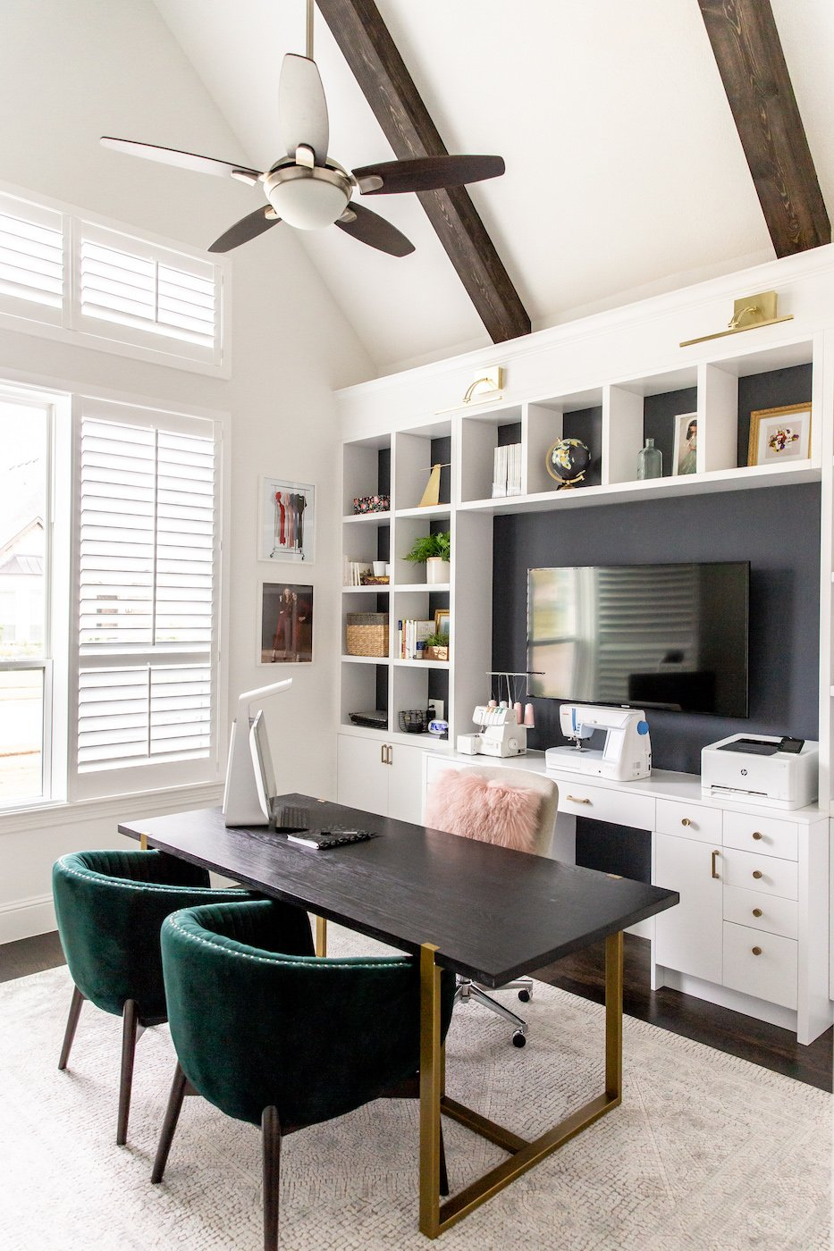 home office bookshelves white with gray wall