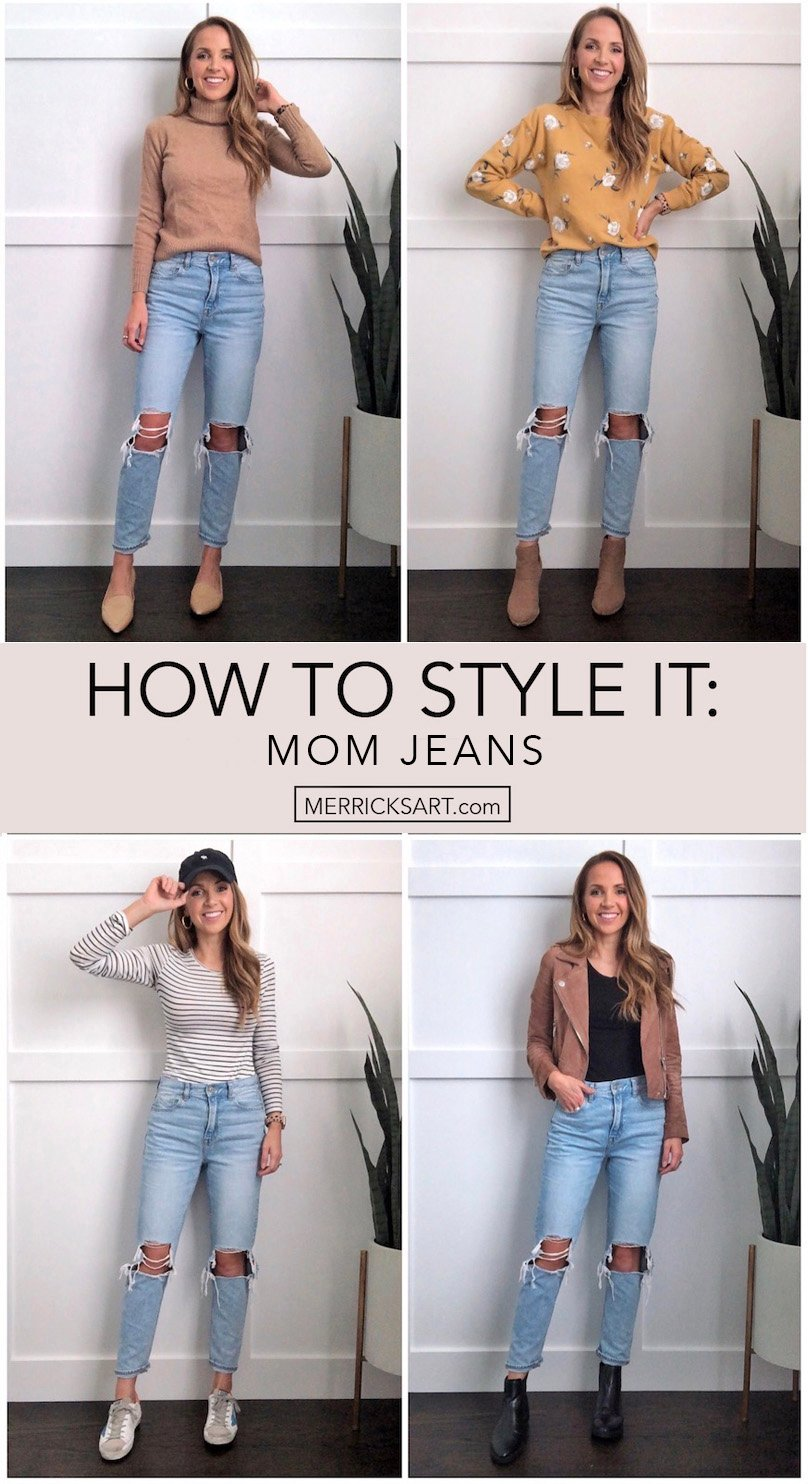 outfits with mom jeans collage