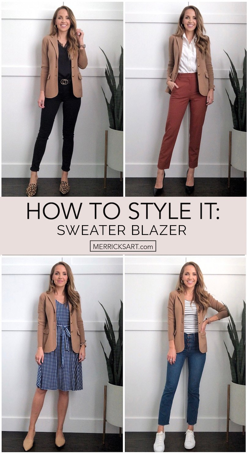 collage of sweater blazer outfits