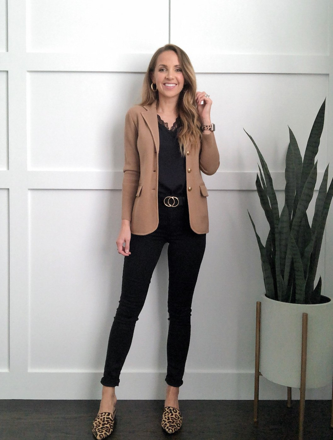 sweater blazer outfit with black jeans and black lace top