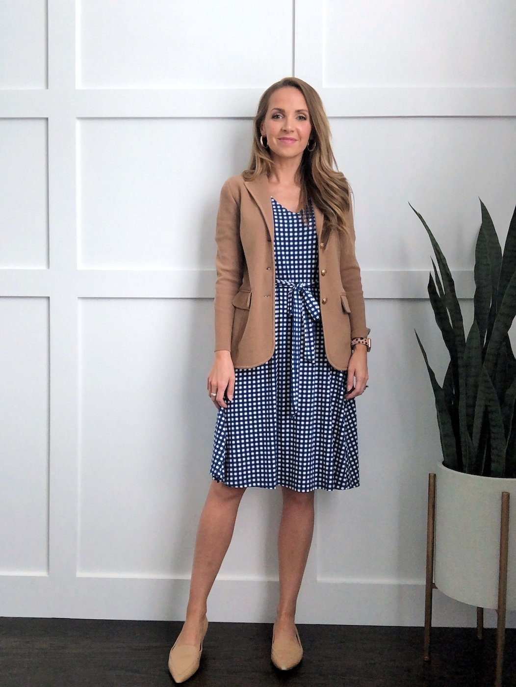 sweater blazer with gingham dress and nude pointed flats