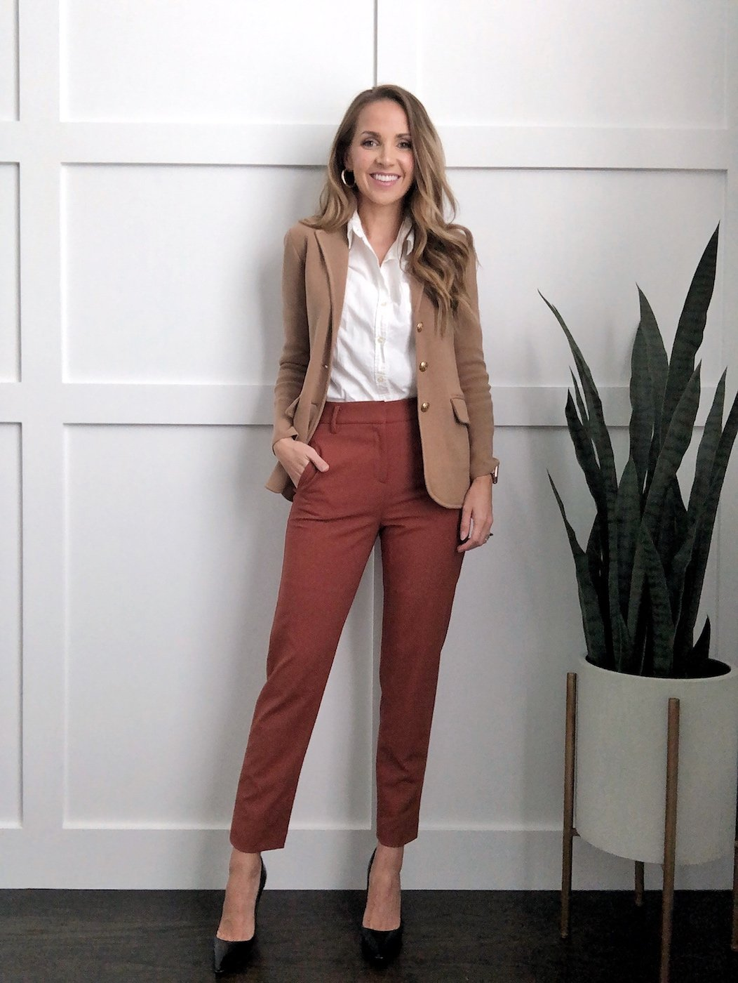 sweater blazer outfits with rust pants and white blouse