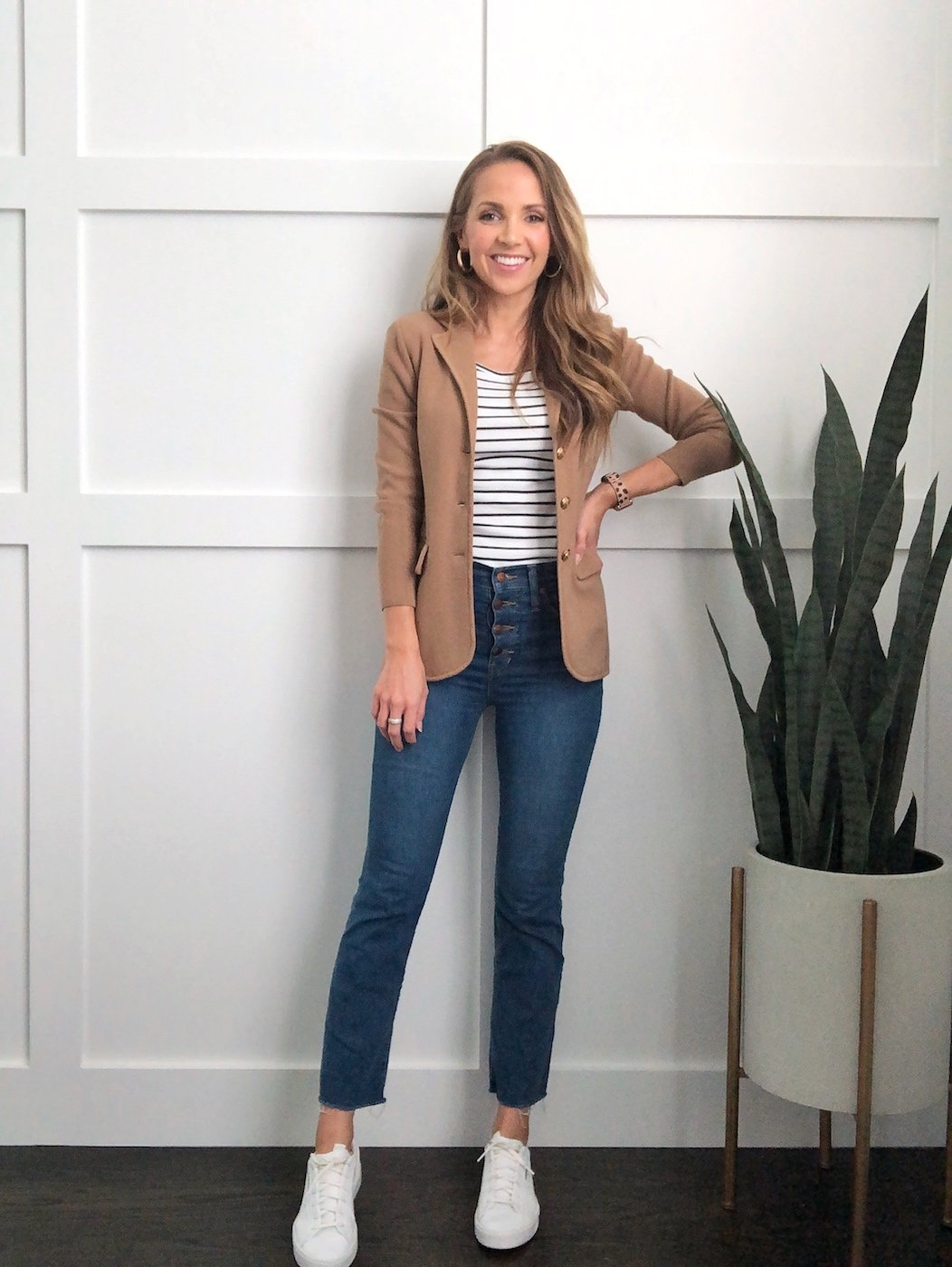 sweater blazer with striped tee and cropped jeans