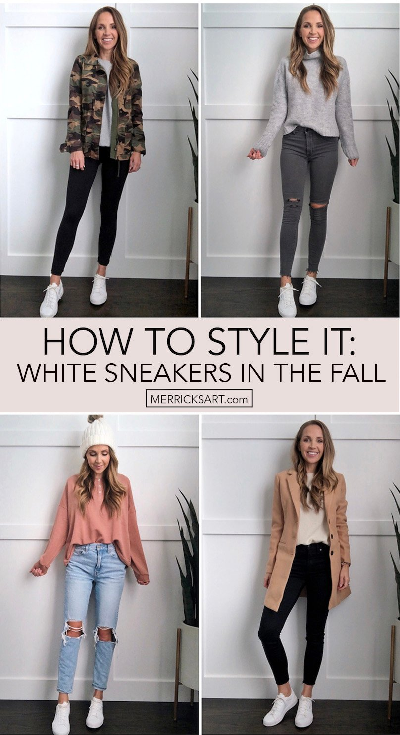 how to wear white sneakers in the fall collage
