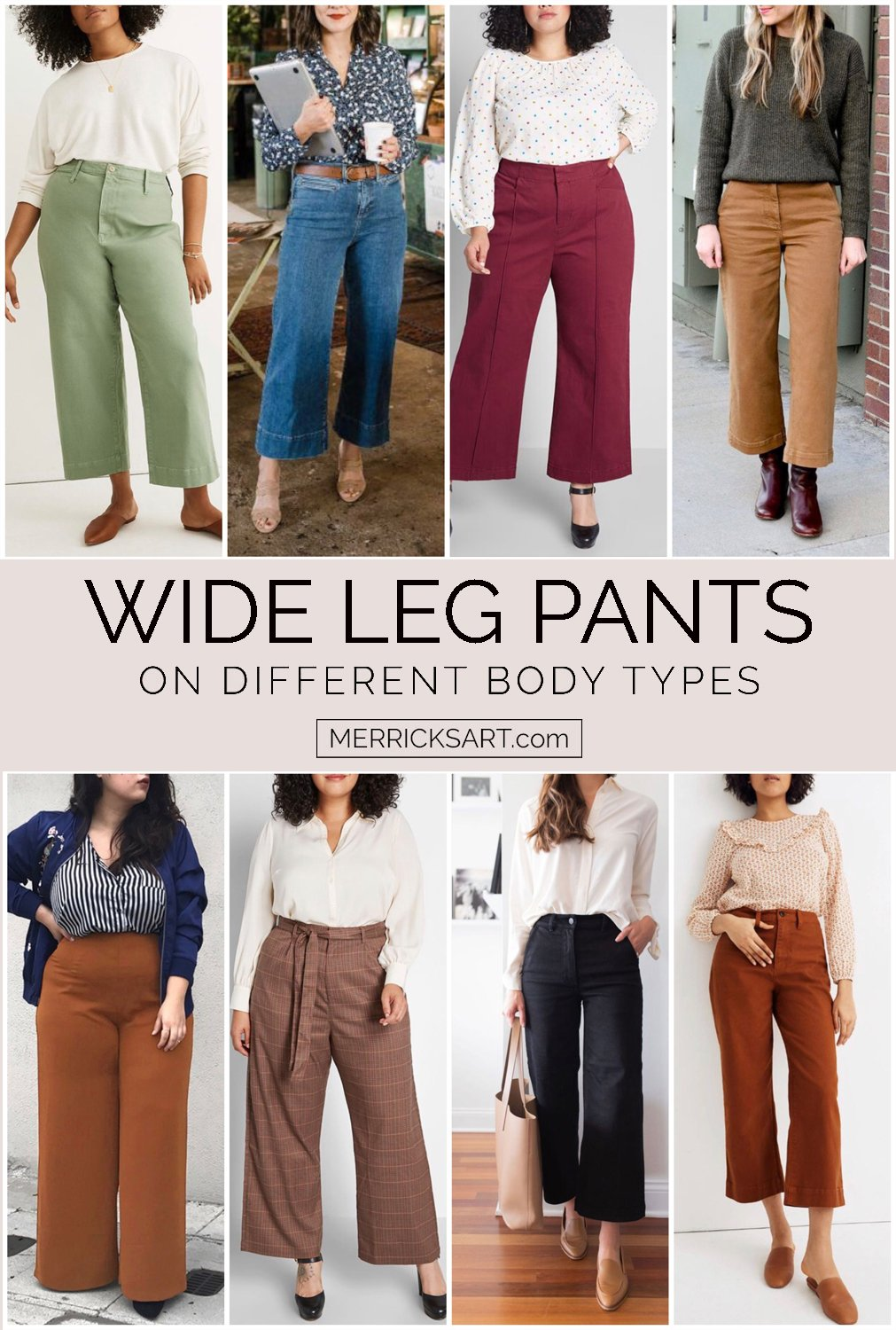 outfits with wide leg pants on different body types