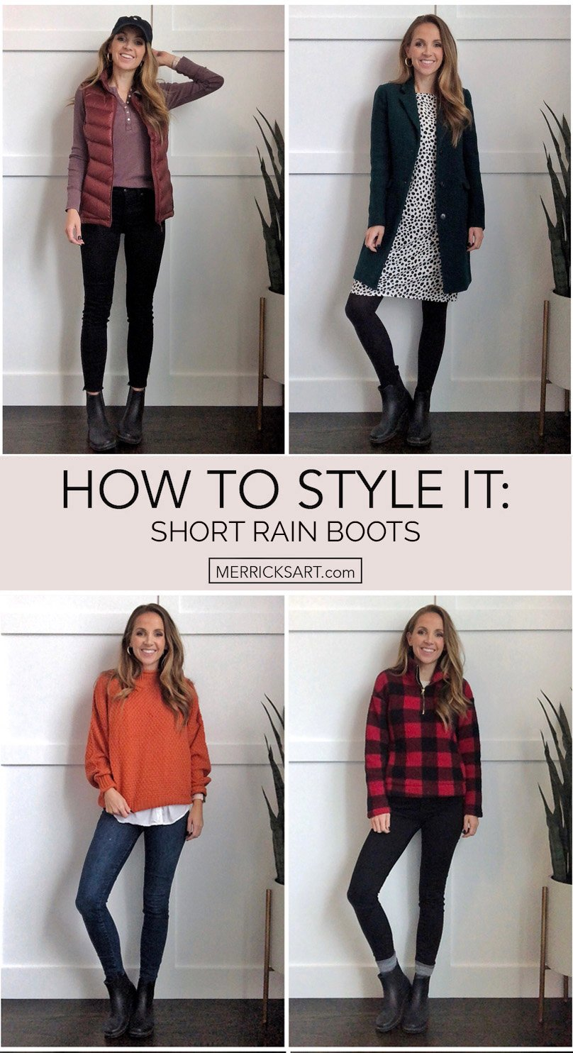 how to wear black rain boots