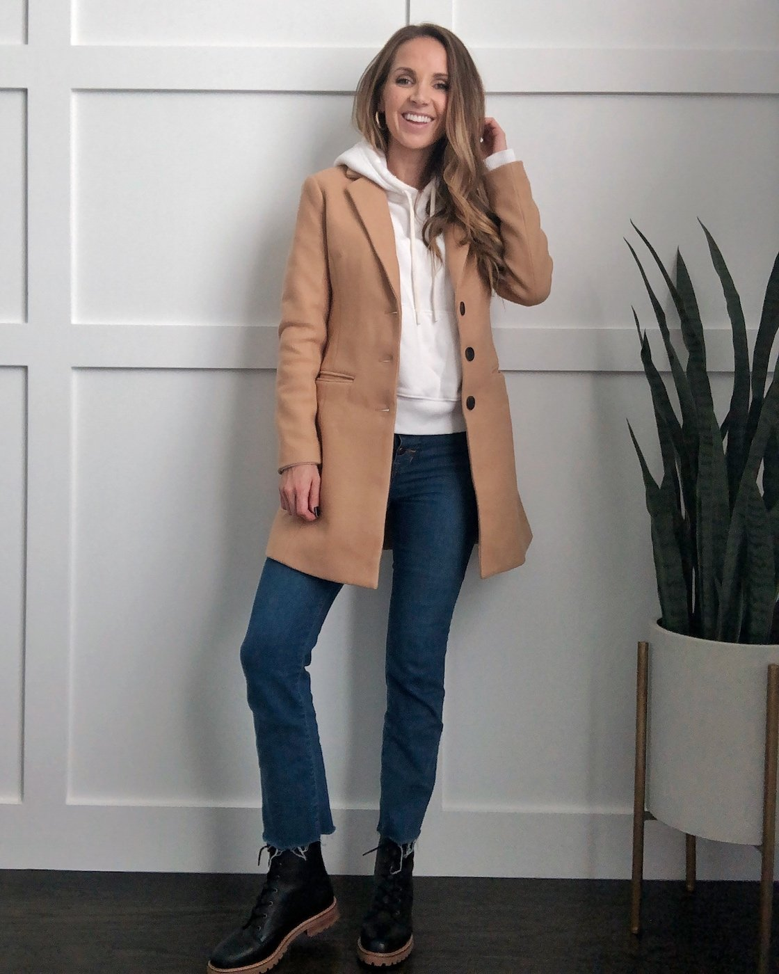 camel coat with cropped flared jeans