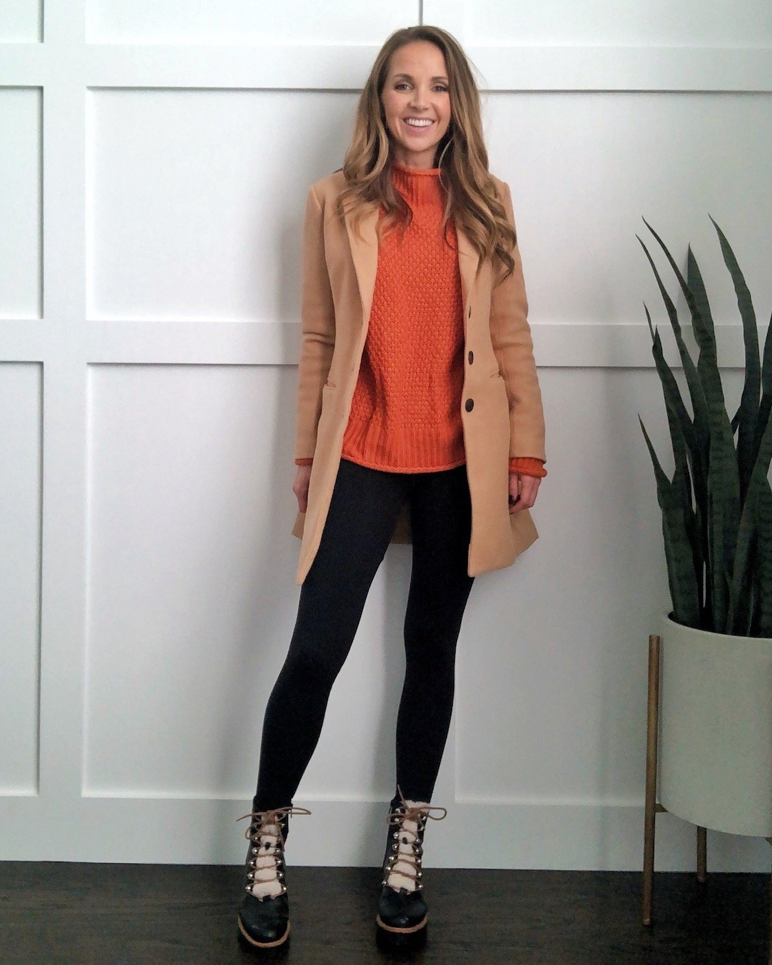 camel coat with leggings and sweater