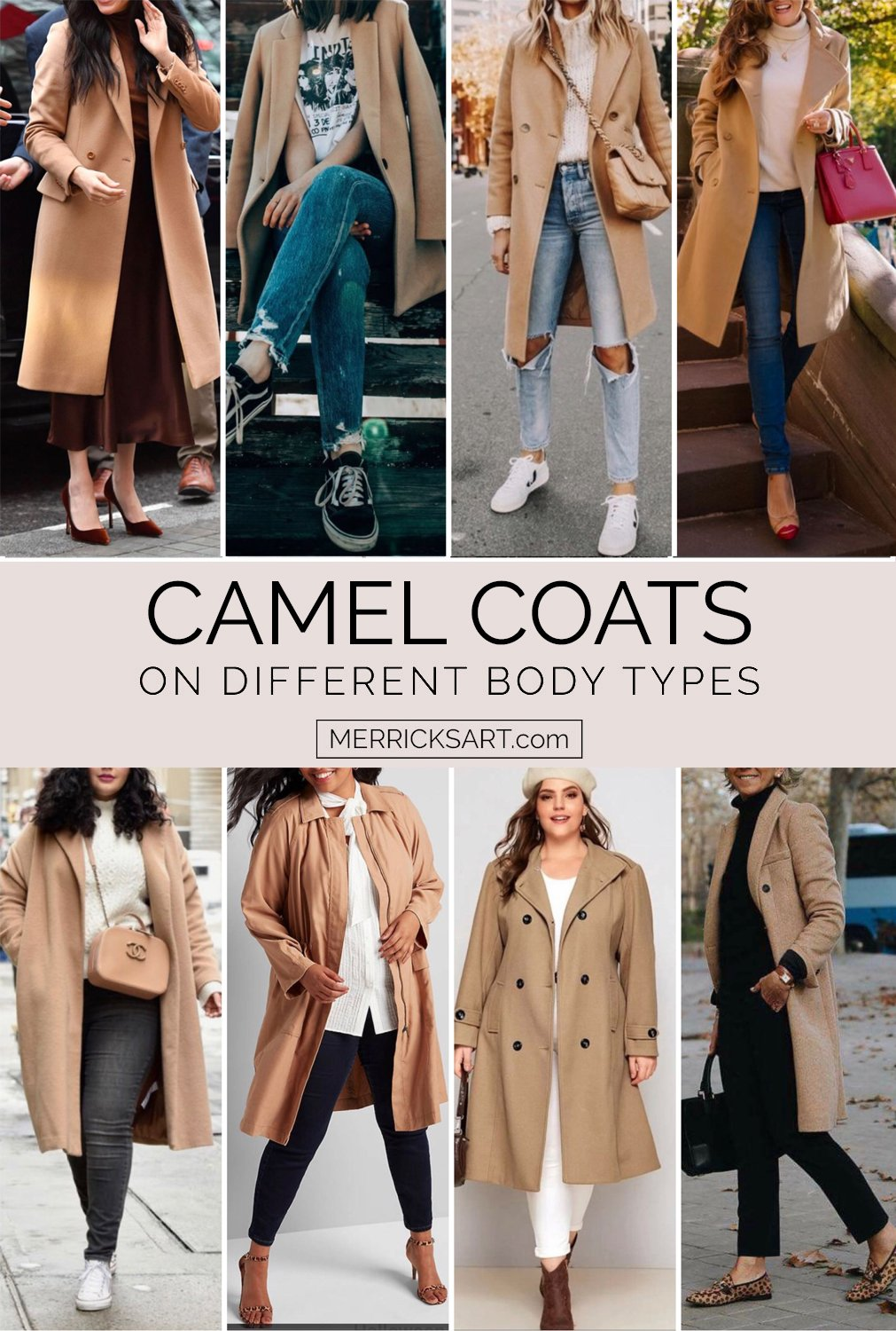 camel coat outfits with different body types