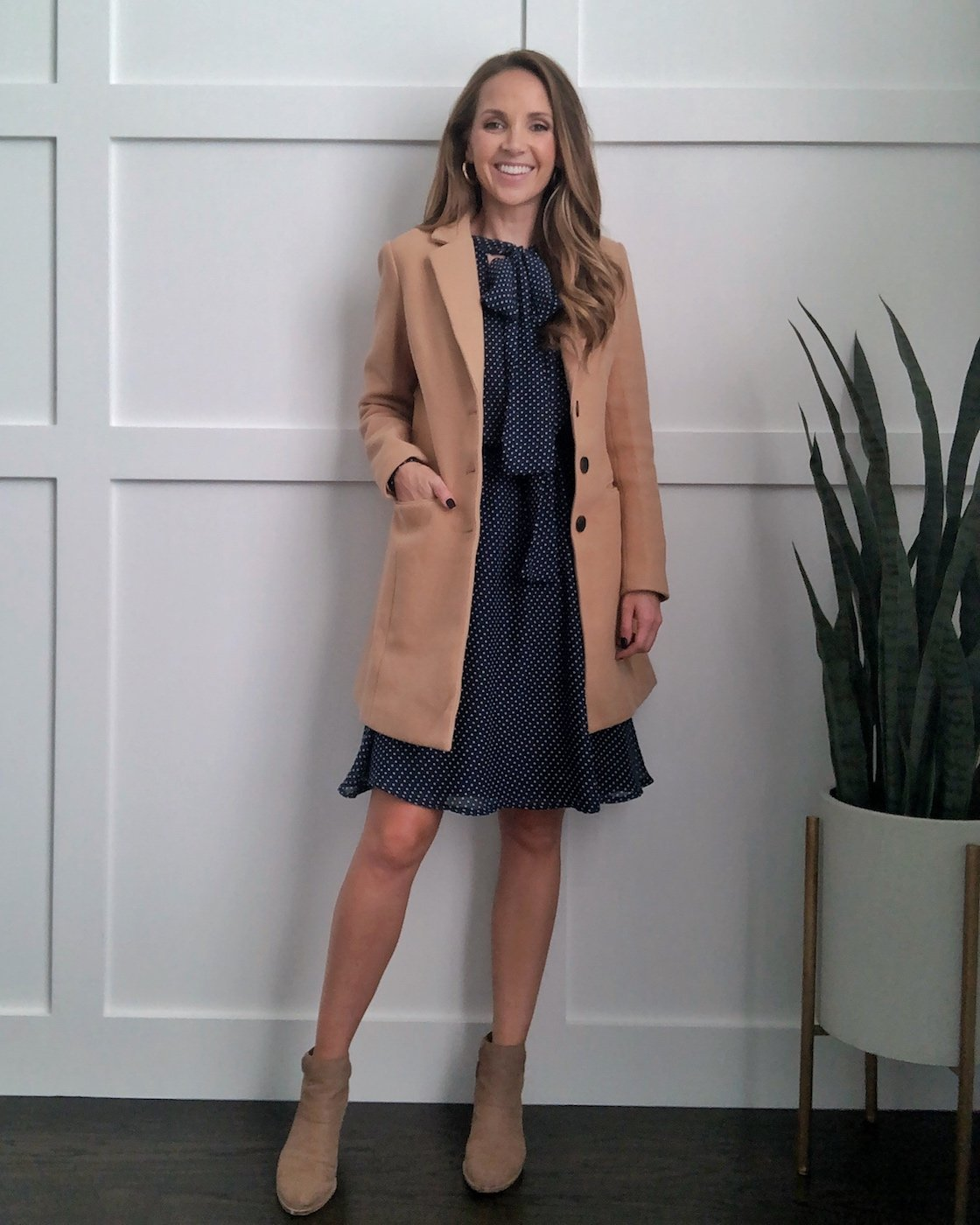 camel coat with dress